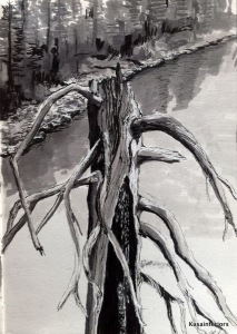 Dead Tree (ink, Copics, white pen)