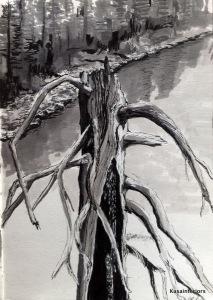 Dead Tree (ink, Copics, white pen)