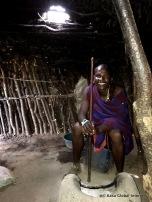 Inside the Masaai hut