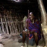 Inside the Masaai hut