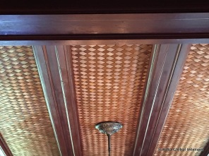 Dining room: woven redwood/grass mat panels (detail)