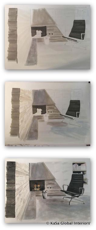 10-Concrete living room - steps